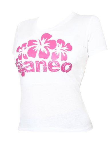 T-shirt damen baumwolle Djaneo Hibiscus kurzem ärmel in 6 Farben weiß und rosa