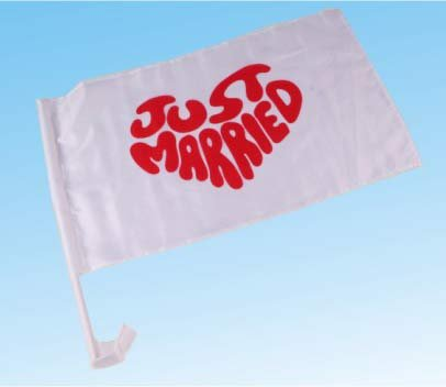 ###Autoflagge Just married, Schrift in Herzform, 30 x 45 cm###