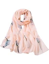 HUHU833 Écharpes châle foulards, Mode Femme Foulard en mousseline de soie  Des oiseaux Impression Long d422987685c