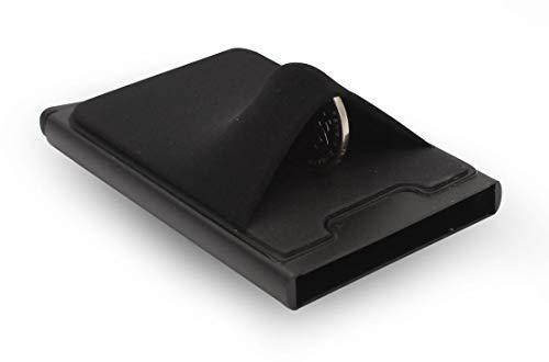 Cartera Slim HUIDALI | Clip de bloqueo RFID Soporte de tarjeta emergente automático | Cartera de tarjeta minimalista para hombre (negra)
