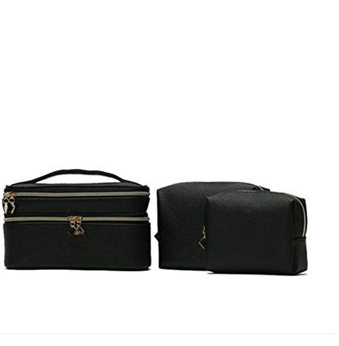LUCKY-U Trousse de Maquillage avec 2 sacs gratuits Professionnel en tissu Finir le maquillage Beauté Cas cosmétique Noir
