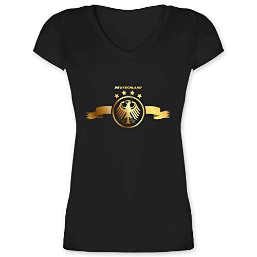 Fußball-Europameisterschaft 2020 - Deutschland Adler Gold - XL - Schwarz - XO1525 - Damen T-Shirt mit V-Ausschnitt