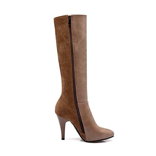 VogueZone009 Damen Spitz Zehe Hoch-Spitze Gemischte Farbe Pu Leder Stiefel Aprikosen Farbe