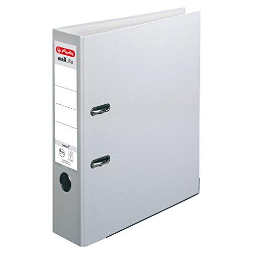 Herlitz 11416252 Ordner maX.file protect A4, 8 cm mit Einsteckrückenschild, 5er-Packung, FSC Mix, grau