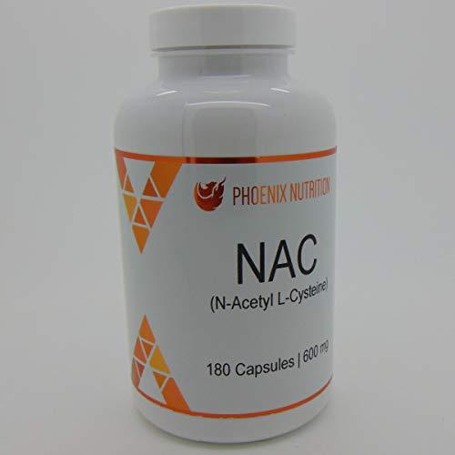 31T6REtf7yL. SS500  - N-Acetyl L-Cysteine (NAC) Capsules | 180 x 600mg | Phoenix Nutrition