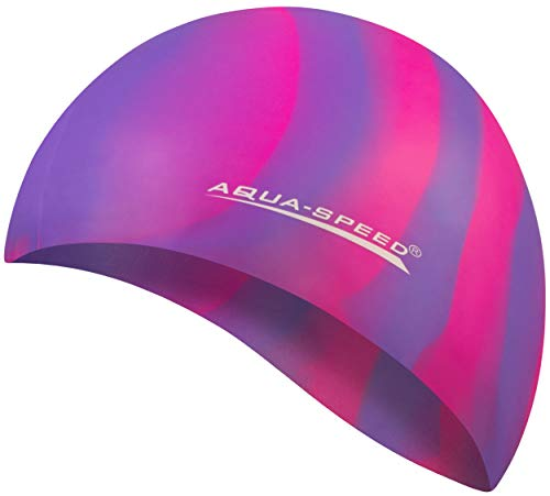 Aqua Speed® Set - BUNT Badekappe + Kleines Mikrofaser Handtuch | Silikon | Bademütze | Badehaube | Schwimmhaube | Erwachsene | Damen | Herren | Kinder, Kappen Designs:10. Bunt / 62