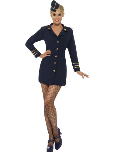 Karneval Damen Kostüm sexy Stewardess Kleid in navy blau Gr.40/42