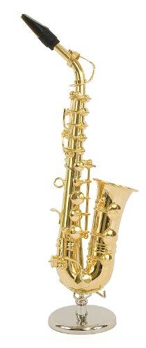 Sassofono Contralto in miniatura - in ottone dorato - Oggetto di decorazione - regalo musica - Consegnato nel suo cofanetto con supporto - Altezza 16 cm