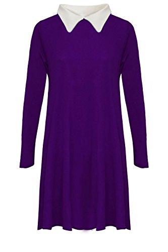janisramone nouvelles femmes à manches longues extensible swing de maillot lâche peter pan robe simple purple