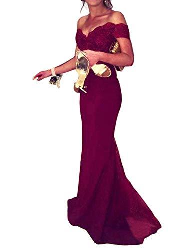 Special Bridal Meerjungfrau Abendkleid aus der Schulter Spitze Lange Weinrot Sexy Abendkleid Brautjungfer Kleid - Ballkleid Mit Perlen Mieder