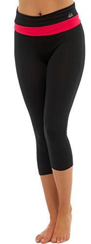 Ladies sport Gym Yoga Fitness Co-ordinating Mix et Match haut et fond noir avec violet bleu ou rose dans la petite moyenne ou grande Bande de 3/4 legging-rose