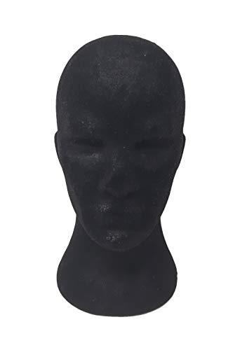 1 pz Espositore TESTA UOMO NERA POLISTIROLO cappello parrucca casco