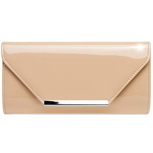 f300d2fc78bbb Caspar TA435 elegante Damen XL Envelope Lack Clutch Tasche Abendtasche mit  langer Kette