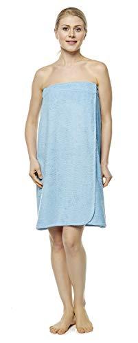 Arus Saunakilt für Damen 100% Bio-Baumwolle-Frottee mit Gummizug und Klettverschluss Größe: S/M, Farbe: Hellblau -