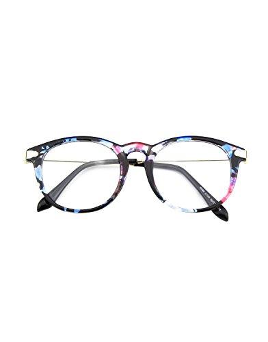 CN88 Klassische Nerdbrille rund Keyhole 40er 50er Jahre Pantobrille Vintage Look clear lens,Mehrfarbig A