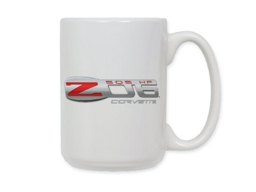Corvette C6 Z06 Logo Ceramic Coffee Mug White by Corvette - Corvette Z06 Logo