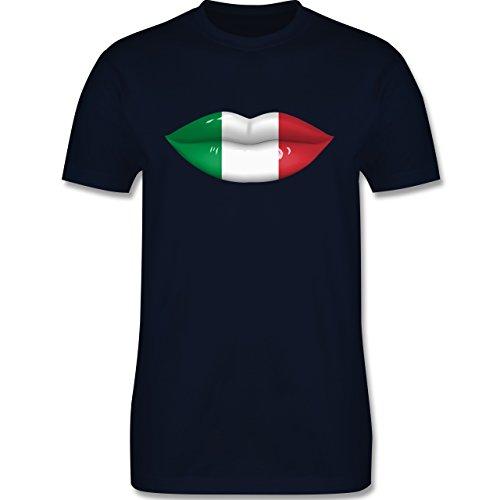 EM 2016 - Frankreich - Lippen Bodypaint Italien - Herren Premium T-Shirt Navy Blau