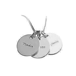 Gravierbare Kette, Silber 925, Drei Runde Anhänger mit Namen, Silberkette, Wunschgravur in Schreibschrift
