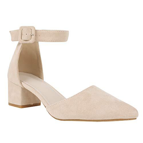 Damen Blockabsatz Mary Janes Schuhe Knöchelriemchen Wies Wildleder Pumps Mid Heel Geschlossener Zeh Sommerschuhe - Wildleder Heels