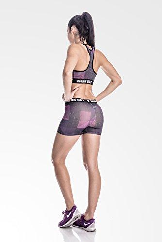 fringoo kurze Fitness Leggings Workout dehnbar GALAXY shorts - 3