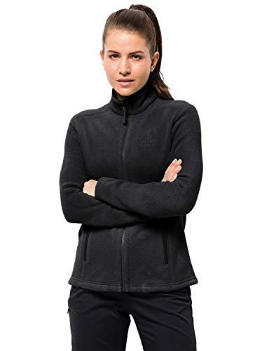 Jack Wolfskin W Moonrise JKT, Damen Jacke aus robustem & recyceltem Fleece, Outdoor Jacke für Damen mit kurzem Systemreißverschluss, kombinierbare Fleecejacke für Damen,  schwarz, XL