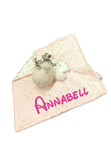 KIDDI-MEDIA Baby Kuscheltuch mit Namen Bestickt (kein Druck) / wunderschöne 3D Motive zur Auswahl - ideal als Schnuffeltuch und Trösterchen (Einhorn / Rosa-Weiss)