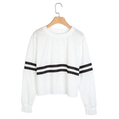 Hannea Casual Round Collar Long Sleeve Striped Women Sweatshirt