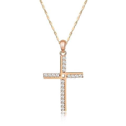 HERLINA Colliers Pendentif Zirconium Croix de Or Rose Argent 925 Bijoux Pour Femme (40.6cm/16in