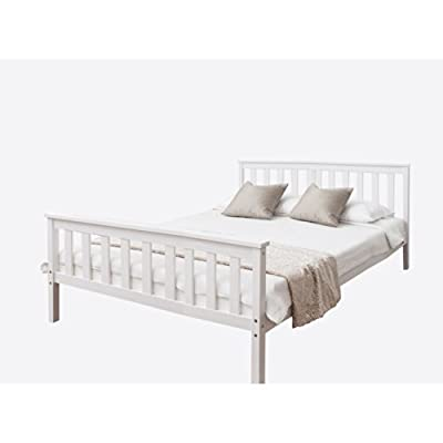Double Bed in White 4'6 Double Bed Wooden Frame WHITE Dorset