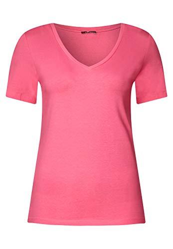 Baumwolle Damen V-neck T-shirts (Street One Damen Shirt mit V-Neck Rhea Blossom pink 46)