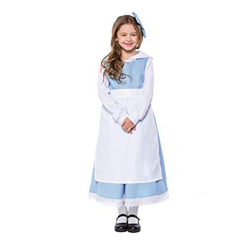 YaXuan Mädchen Kostüme Cosplay Halloween Maid Kleid Schürze für Mädchen Kindertag Karneval Festival/Urlaub (Farbe : Picture Color, Größe : L-(125-135))