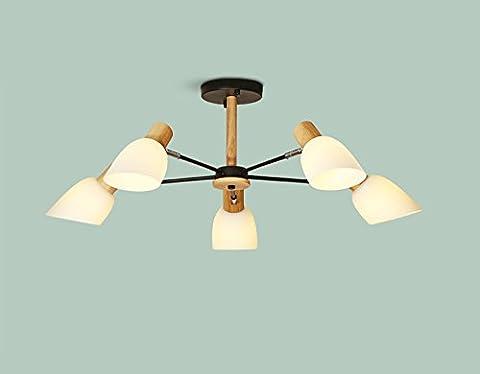 BOBE SHOP Nordic Simple Creative Lampe de plafond en bois massif Plafonnier Chandelier, Plafonnier pour salon, Chambre, Restaurant, Café, Bar ( Couleur : Noir-Five-headed )