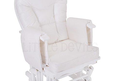 Stillstuhl Little Devils aus weißem Holz und kostenlosem Fußhocker - 3