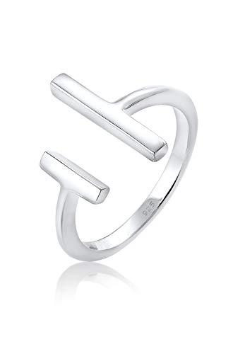 Elli Damen Ring Geo Stab Minimal Blogger Verstellbar in 925 Sterling Silber (Coole Ringe Frauen)
