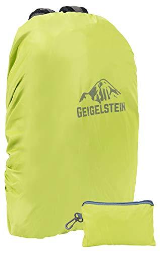 GEIGELSTEIN® Raincover Lime, Rucksack Regenhülle 30-45 Liter, mit reflektierendem Logo (40l Wander-rucksack, Wasserdichte)