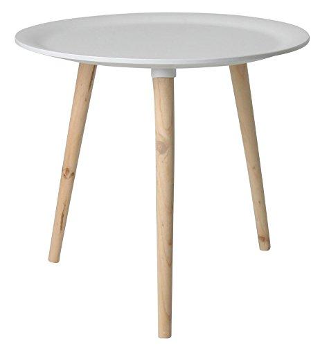 Retro Beistelltisch rund - 48 cm weiß - Holz Tisch Couchtisch Nachttisch Sofatisch