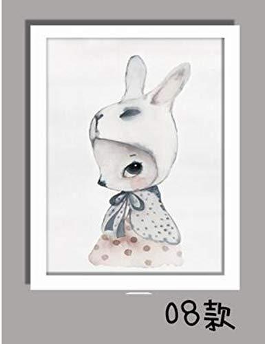 Ölgemälde Auf Leinwand Handgemalt,Abstrakte Karikatur-Tierbilder, Kaninchen-Mädchen Mit Weißem Hut , Vintage Orientalische Moderne Retro-Kunst Für Erwachsene Wohnzimmer Schlafzimmer Home Office W (Erwachsene Weiße Kaninchen Hut)