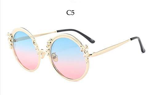 Sonnenbrille Runde Vintage Designer Fashion Sonnenbrille Gradient Objektiv Sommer Schatten Luxus Katze Brille Frauen Neue Retro Goggle Blau Rot