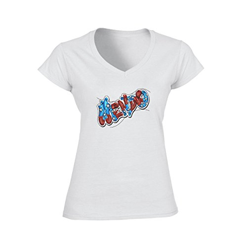 Graffitti Hip Hop Rap Wendy Damen V-Neck T-Shirt Weiß