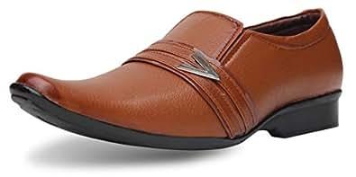 AXONZA Men's Synthetic Leather Office wear 199 Tan Slip On Formal Shoes