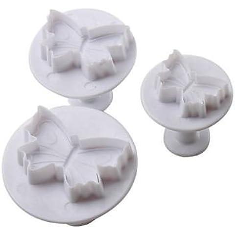 Diseño de mariposas para tartas y cortador de galletas molde con émbolo (3piezas)