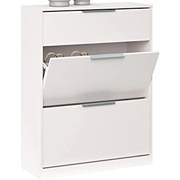 Shoe Storage Cabinet With 2u0026nbsp;compartments (oak Wood), White. 105 X