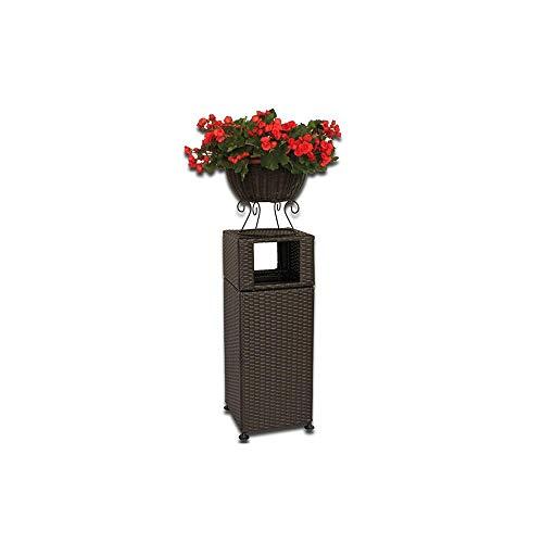 SLIANG Mülleimer, Bambus und Rattan Kreative Outdoor Mit Blumentopf Mülltonne Hygiene Garten Outdoor Hotel Garten Große Aufbewahrungsbox 139,5 cm