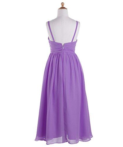 Fashion Plaza Mädchens Elegant schmalen Trägern A Line Chiffon Blumenmädchen Kleid K0095 Lavendel