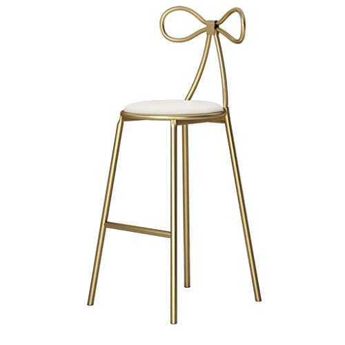 Qjifangyizi Hoher Hocker, Rosette-Rückenlehne gepolstertes Metall-Samtstoff-Frühstücks-Zähler-Küchen-Hauptstuhl (Farbe : Weiß, größe : Sitting 75 cm high) -