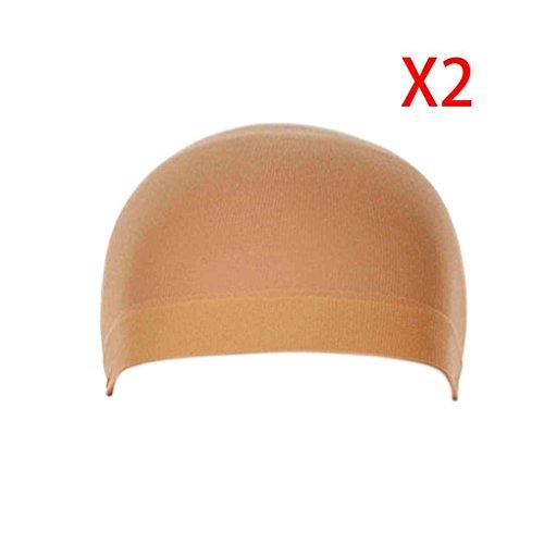 Babysbreath 2Pcs Unisex elastische Haar Liner Snood Stretch Mesh Perücke Kappe Braun (Stück Stretch-mesh-3)