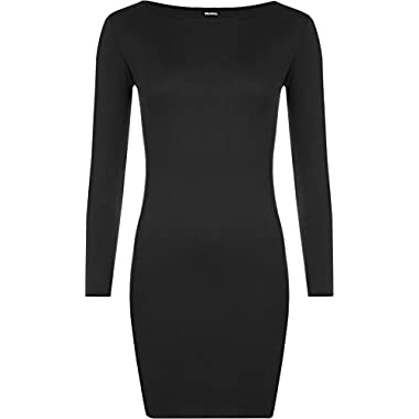 WearAll Ladies Mini Dress Long Sleeved Bodycon Top Sizes 8-14