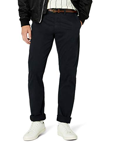 TOM TAILOR Herren Hose Travis Casual Chino w/ Belt, Blau (lunar eclipse 6911), 30/32 Slim Fit Chino