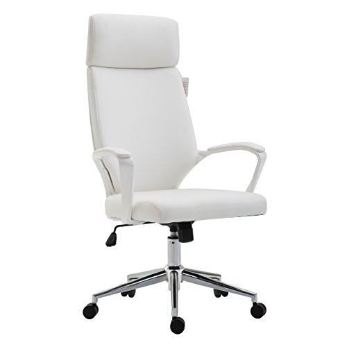 Leder Computer Schreibtisch Stuhl (Cherry Tree Möbel Hohe Rückenlehne modernes Design PU Leder Bürostuhl Drehstuhl Stuhl Computer-Schreibtisch Stuhl mo68 weiß)