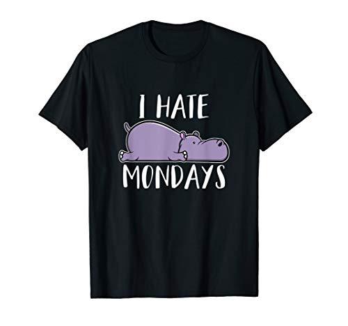 Ich Hasse Montage Niedliches Lustiges Nilpferd T-Shirt -